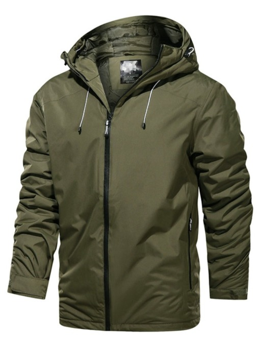 Plain Hooded European Men's Jacket