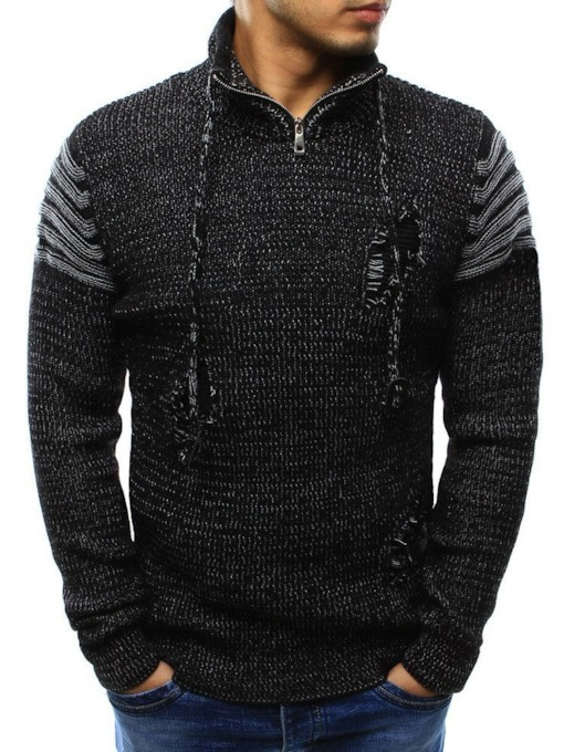 Standard Color Block Hole Winter Men's Sweater