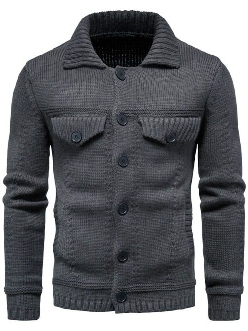 Plain Lapel Pocket Standard European Men's Sweater