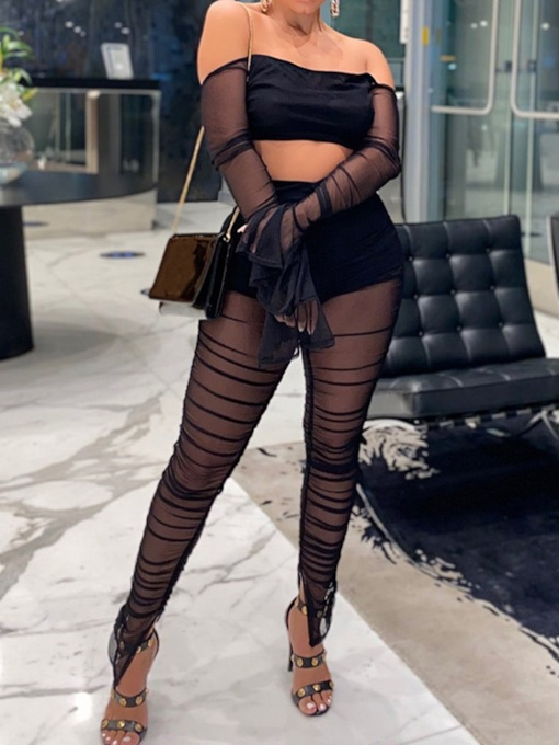 See-Through Plain Sexy T-Shirt Off Shoulder Women's Two Piece Sets