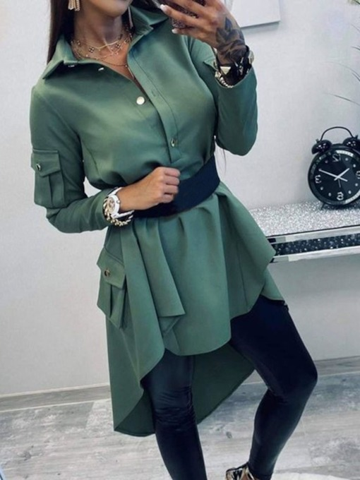 Pocket Mid-Calf Long Sleeve Lapel Mid Waist Women's Dress