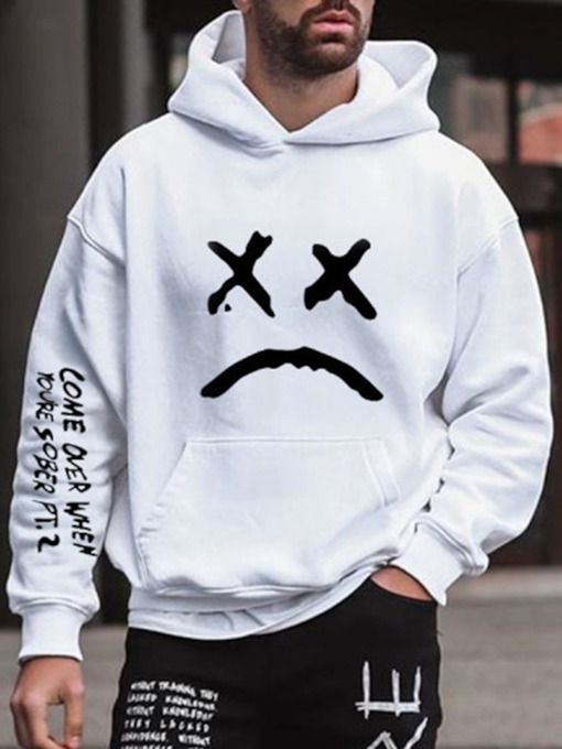 Letter Print Pullover Fall Men's Hoodies