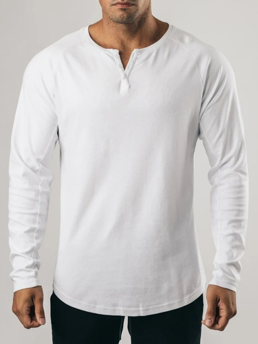 Plain Button Round Neck Casual Long Sleeve Men's T-shirt