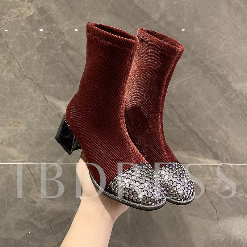 Slip-On Patchwork Round Toe PU Boots