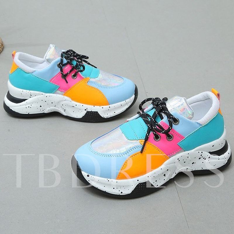 Serpentine Low-Cut Upper Lace-Up Round Toe Patchwork Sneakers