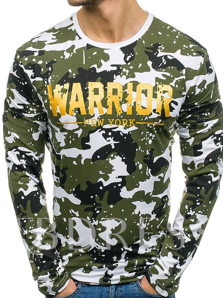 Round Neck Print Letter Casual Pullover Men's T-shirt