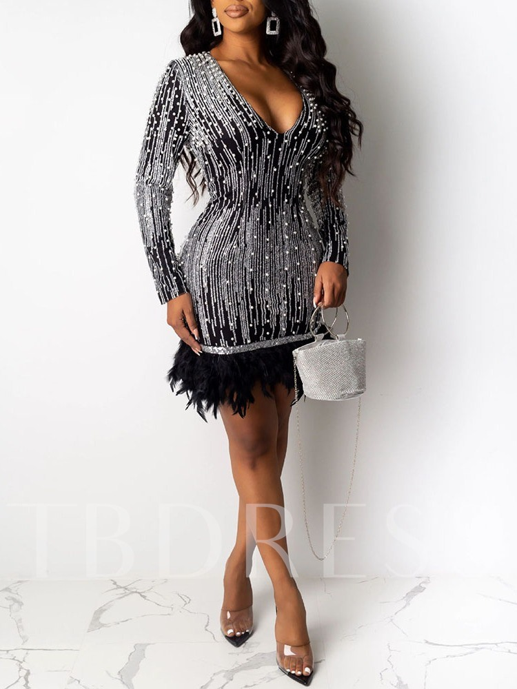 V-Neck Above Knee Feather Long Sleeve Party/Cocktail Women's Dress