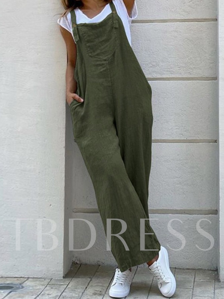Pocket Ankle Length Casual Plain Loose Women's Overalls