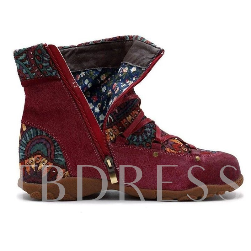 Side Zipper Patchwork Round Toe Thread Boots