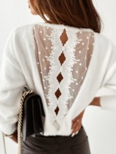 Backless Round Neck Women's Sweater