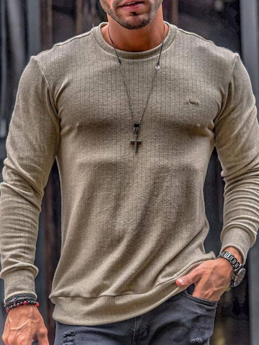 Plain Pullover Round Neck Casual Slim Men's T-shirt