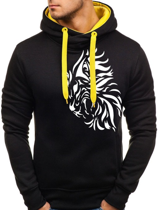 Pullover Print Long Sleeves Slim Men's Hoodies