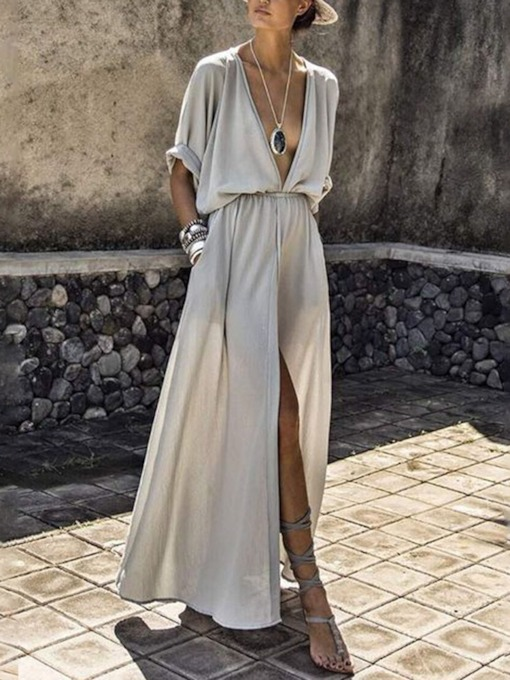 Half Sleeve Split Floor-Length V-Neck Plain Women's Dress