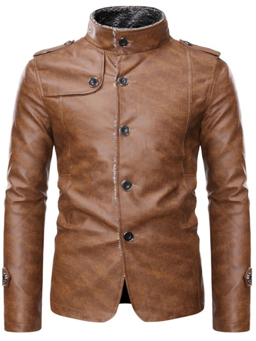 Stand Collar Plain Standard Single-Breasted Men's Leather Jacket