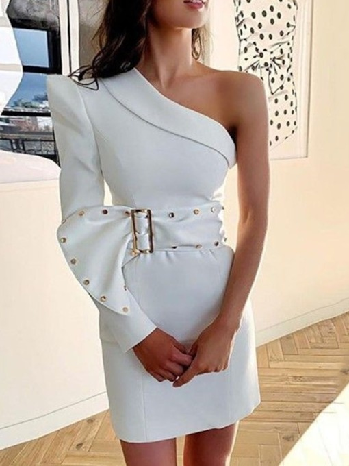 Asymmetric Oblique Collar Long Sleeve Above Knee Plain Women's Dress