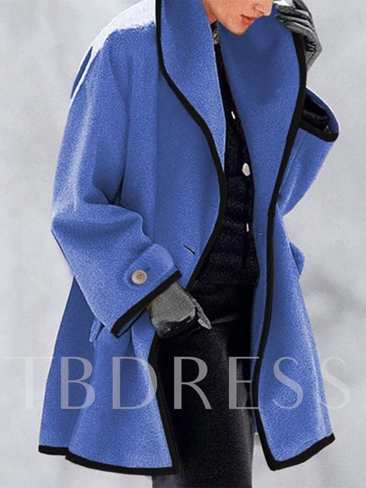 One Button Loose Round Neck Women's Overcoat