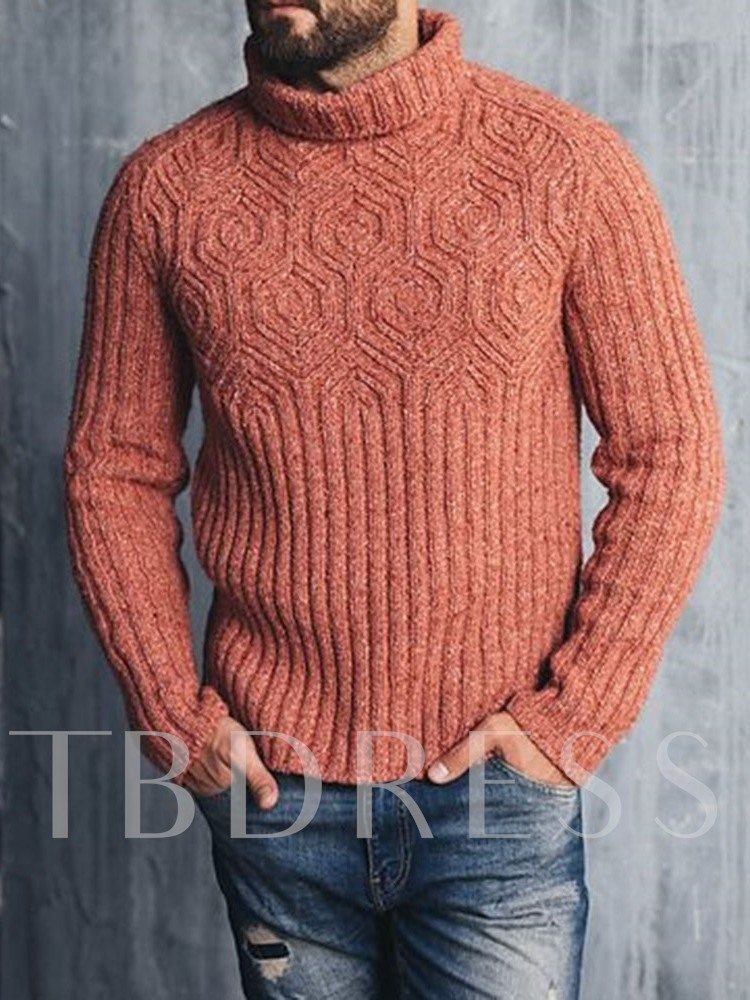 Standard Plain Turtleneck Slim Casual Men's Sweater