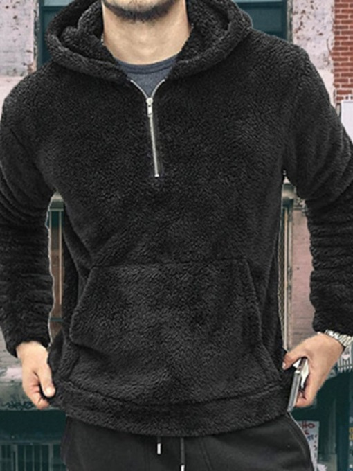 Plain Thick Pullover Pocket Men's Hoodies