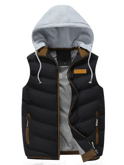 Hooded Color Block Patchwork Thick Casual Men's Waistcoat