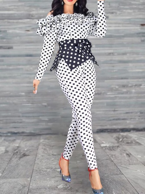 Patchwork Simple Ankle Length Polka Dots Skinny Women's Jumpsuit