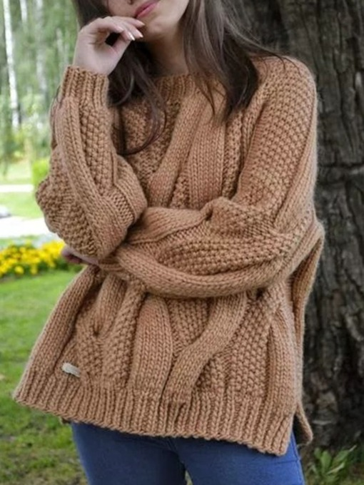 Polyester Patchwork Thin Fall Women's Sweater