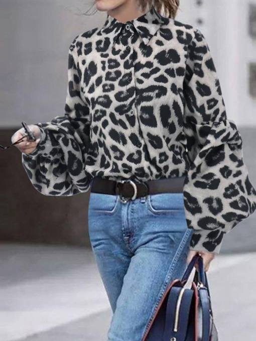 Print Lantern Sleeve Leopard Long Sleeve Women's Blouse