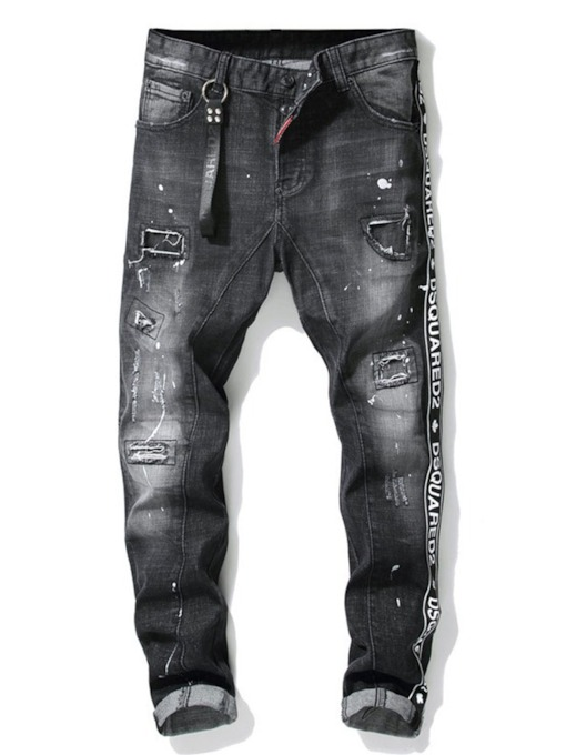 Pencil Pants Letter Print Mid Waist Men's Jeans