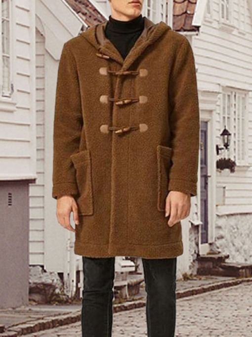 Plain Mid-Length Hooded Winter Men's Coat