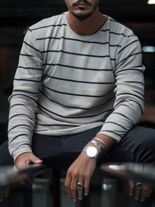 Casual Stripe Round Neck Long Sleeve Fall Men's T-shirt