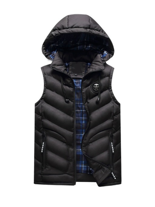 Letter Stand Collar Thick Winter Men's Waistcoat