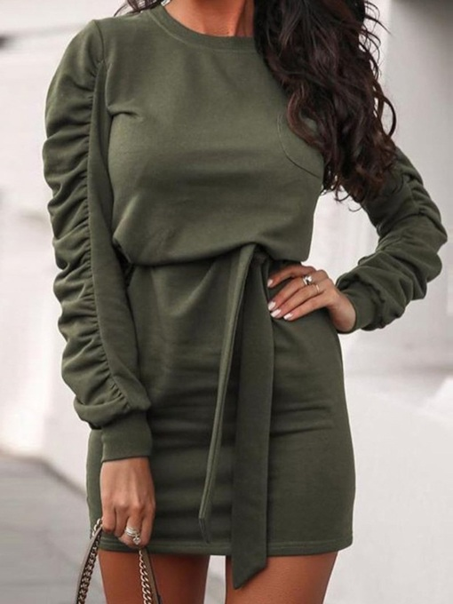 Long Sleeve Pleated Above Knee Round Neck Summer Women's Dress