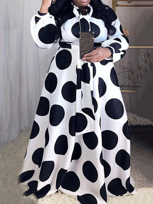 Belt Long Sleeve Floor-Length Polka Dots Women's Dress