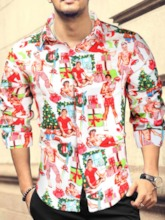 Christmas Lapel Print European Slim Men's Shirt