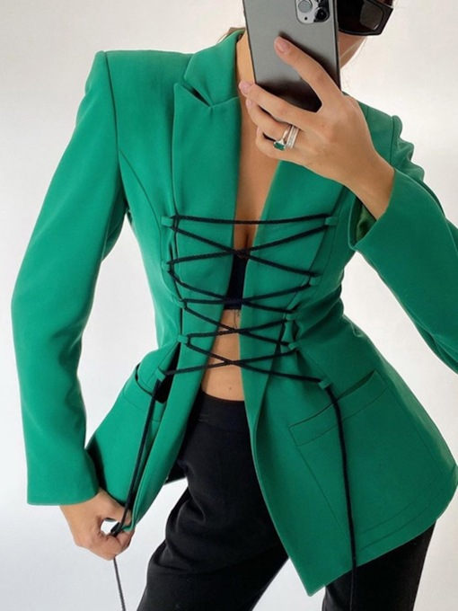 Long Sleeve Lace-Up Plain Notched Lapel Regular Women's Casual Blazer