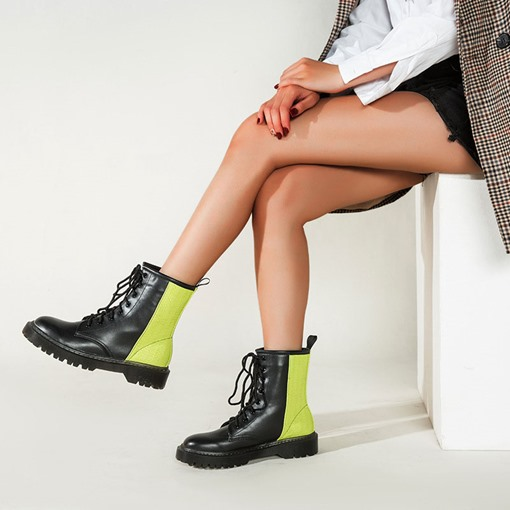 Lace-Up Front Patchwork Round Toe Thread Martin Boots