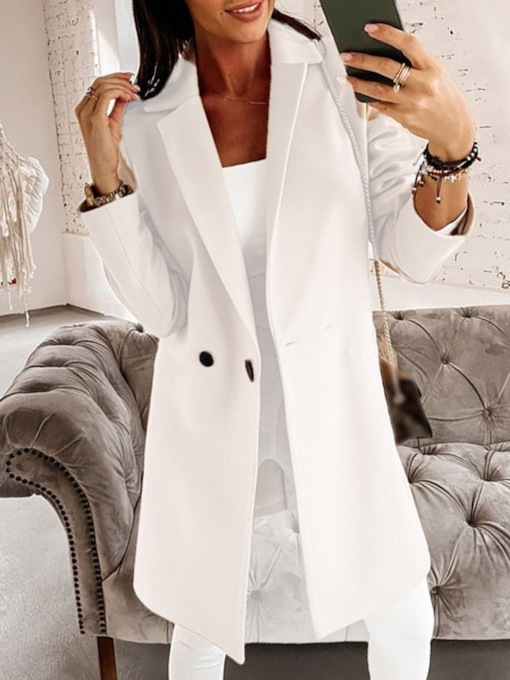 Straight Patchwork Regular Lapel Women's Overcoat