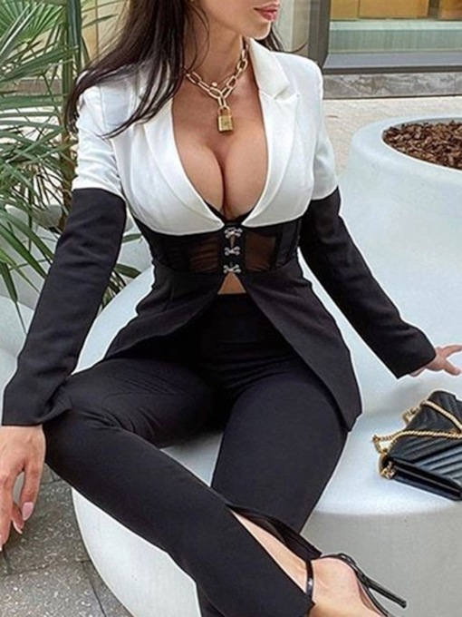 Notched Lapel Color Block Long Sleeve Single-Breasted Regular Women's Casual Blazer
