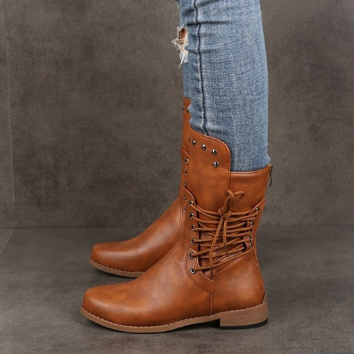 Round Toe Plain Lace-Up Side Block Heel Western Boots