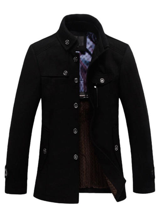 Plain Stand Collar Standard Single-Breasted Men's Coat