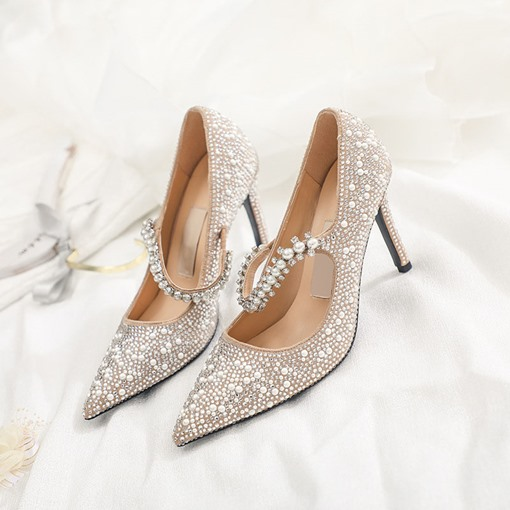 Pointed Toe Elastic Band Stiletto Heel Beads Low-Cut Upper Thin Shoes