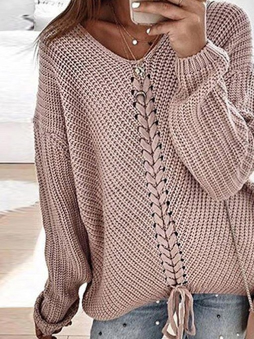 Polyester Patchwork Thin Regular Long Sleeve Women's Sweater