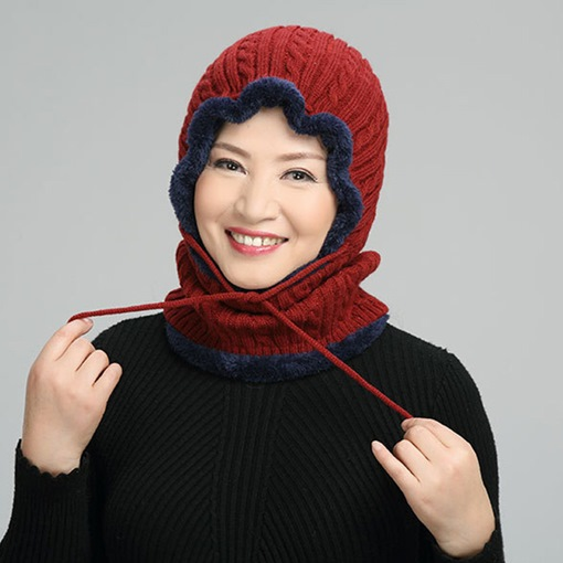 Knitted Hat Woolen Yarn Lace-Up Color Block Hats