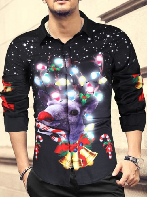 Print European Christmas Lapel Single-Breasted Men's Shirt