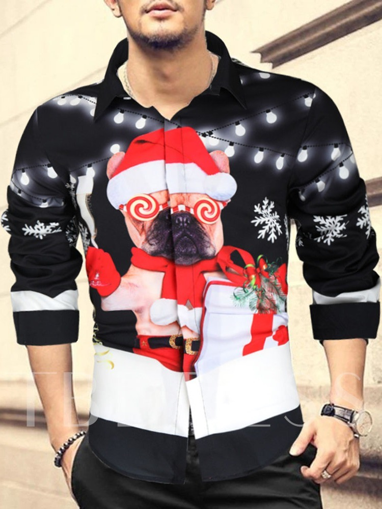 Christmas Cartoon Casual Print Lapel Slim Men's Shirt