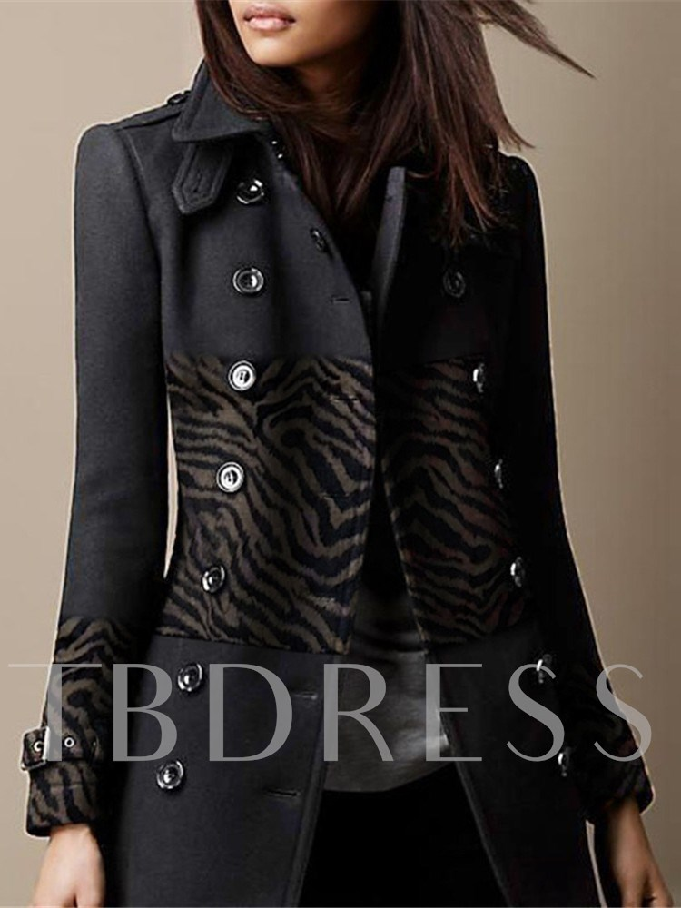 Slim Double-Breasted Regular Lapel Women's Overcoat