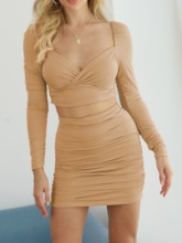 Plain Sexy Pleated T-Shirt Bodycon Women's Two Piece Sets