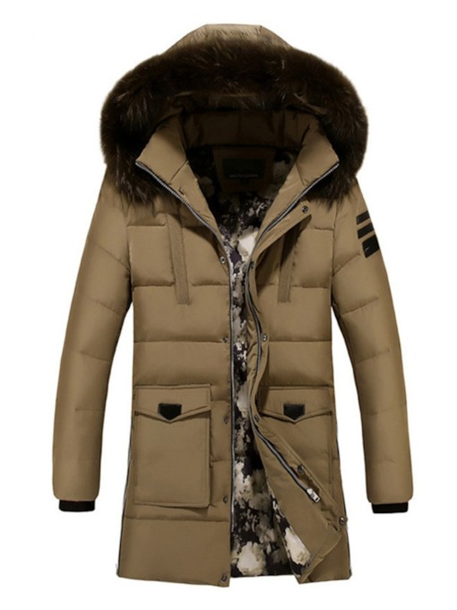 Mid-Length Color Block Stand Collar European Men's Down Jacket