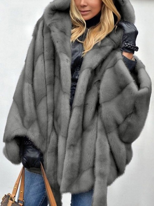 Plain Mid-Length Hooded Winter Women's Faux Fur Overcoat