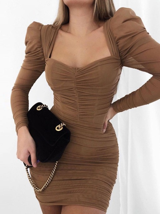 Above Knee Long Sleeve See-Through Bodycon Women's Dress