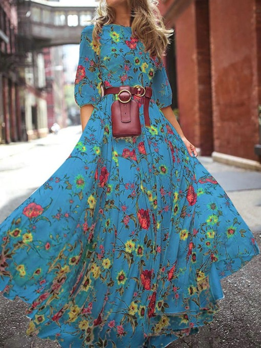 Floral Maxi Dress Half Sleeve Print Floor-Length Round Neck Floral Women's Dress